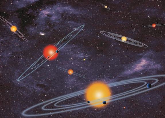 This handout artist conception provided by NASA depicts multiple-transiting planet systems, which are stars with more than one planet. The planets eclipse or transit their host star from the vantage point of the observer. This angle is called edge-on. Our galaxy is looking far more crowded as NASA Wednesday confirmed a bonanza of 715 newly discovered planets circling stars other than our sun. Four of those new planets are in the habitable zones where it is not too hot or not cold. NASAís Kepler planet-hunting telescope nearly doubled the number of planets scientists have discovered in the galaxy, pushing the figure to about 1,700. Twenty years ago, astronomers had not found any planets outside our solar system. (AP Photo/NASA)