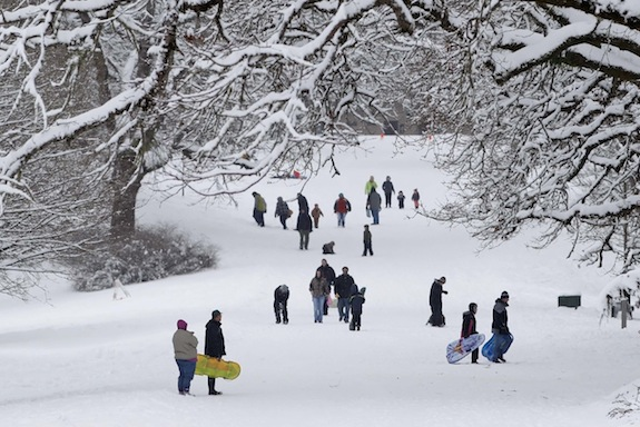 People enjoy the snow on Soap Box Derby hill at Bush's Pasture Park, in Salem, Ore. on Saturday, Feb. 8, 2014. (AP Photo/Statesman Journal, Timothy J. Gonzalez)