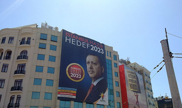 Turkish prime minister Erdogan's election campaign banner