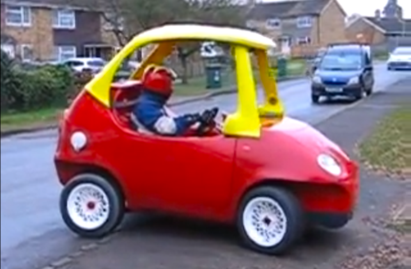 Mechanic creates life size little tikes cozy coupe aol uk for Little tikes motorized vehicles