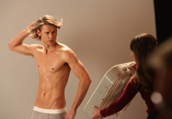 GLEE: Rachel (Lea Michele, R) helps Sam (Chord Overstreet, L) with a photo shoot in the