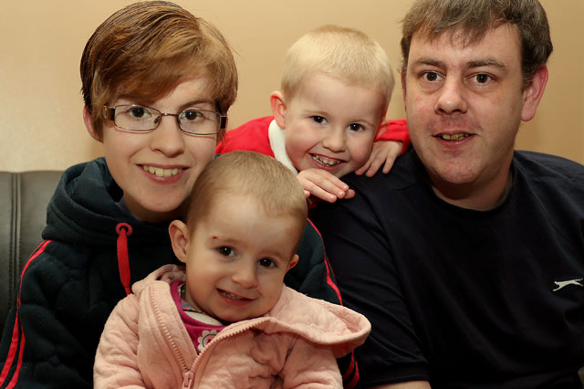 Parents Lesley Barsby and Paul Topley with their son Caine Topley and daughter Bethany Topley
