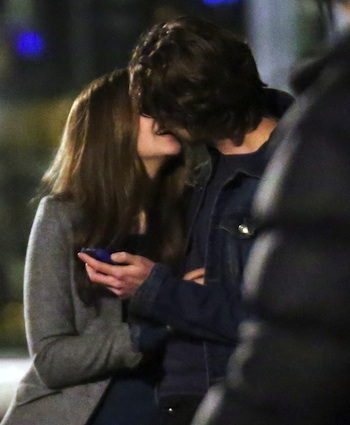 51273015 Actress Chloe Grace Moretz makes out with her costar Jamie Blackley as they film a scene together for their movie