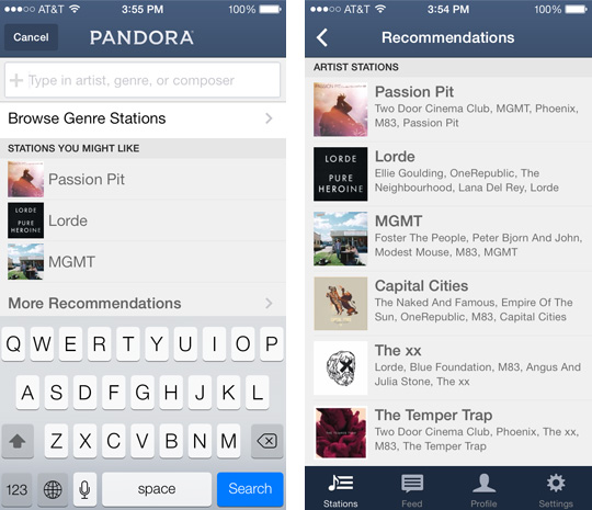 Pandora radio station pandora now recommends radio stations to android