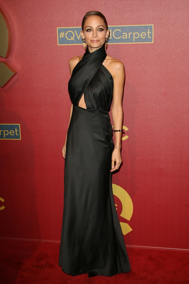 nicole-richie-black-cutout-gown-QVC-party