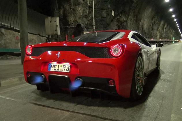 【ビデオ】フェラーリ「458スペチアーレ」に特製エキゾーストを装着してモナコのトンネルをドライブ!