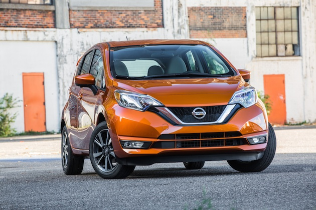 "Enhancements to the 2017 Versa Note are highlighted by a dynamic new front end treatment, which accentuates its popular forward-looking style even more with a new front fascia, ""V-Motion"" grille and swept-back halogen headlights."