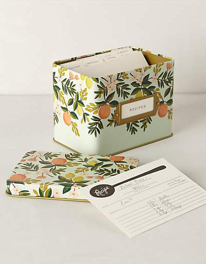 tin floral recipe box