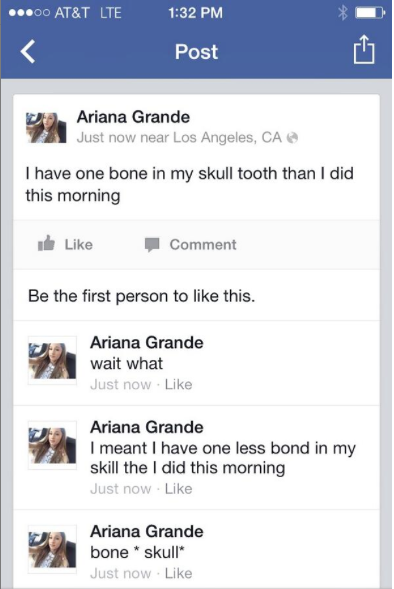 Ariana Grande wisdom teeth surgery bone removed skull tweet
