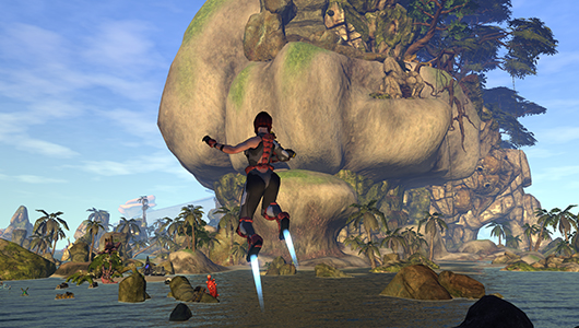 Firefall's rocket boots in action.
