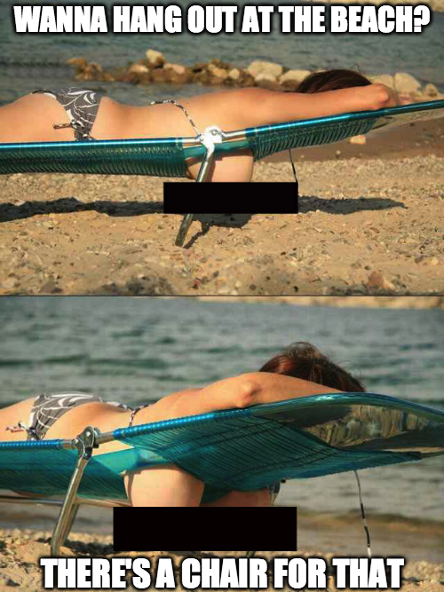 funny photos, beach chair boobs, lady with boobs hanging at beach