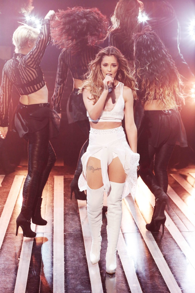 Cheryl Fernandez-Versini works thigh-high boots and hotpants for X Factor performance