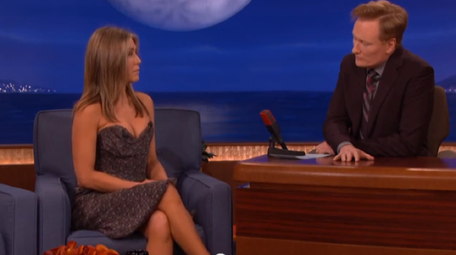 Jennifer Aniston wows in Vivienne Westwood on US chat show