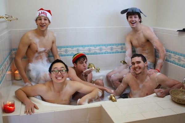 funny christmas cards, funny christmas photos, bro bathtub christmas