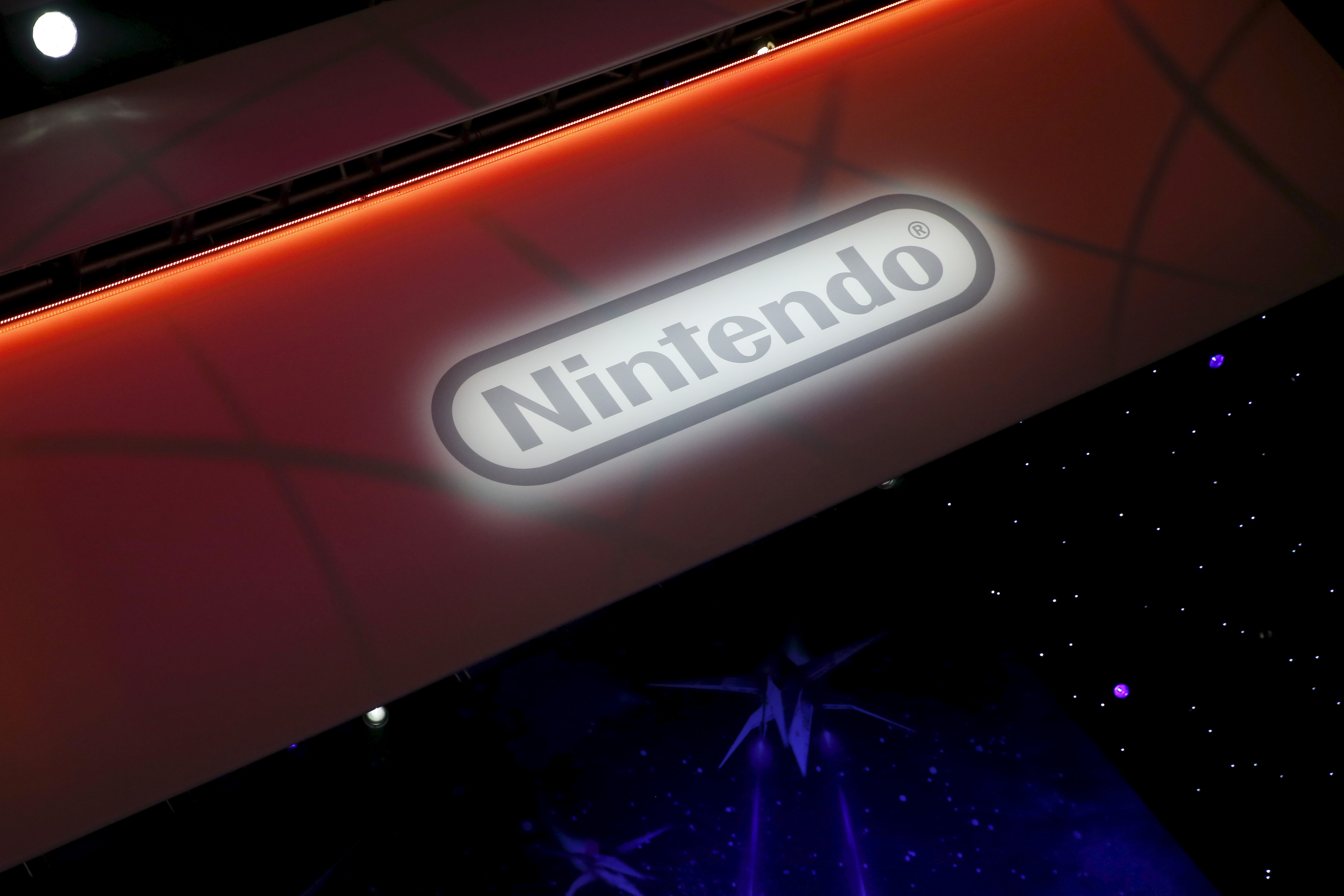 A Nintendo video game logo is seen at the Electronic Entertainment Expo, or E3, in Los Angeles, California, United States, June 17, 2015. Virtual reality gaming, once a distant concept, became the new battleground at this year's E3 industry convention, with developers seeking to win over fans with their immersive headsets and accessories. REUTERS/Lucy Nicholson