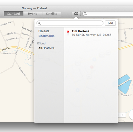 Maps Bookmarks OS X