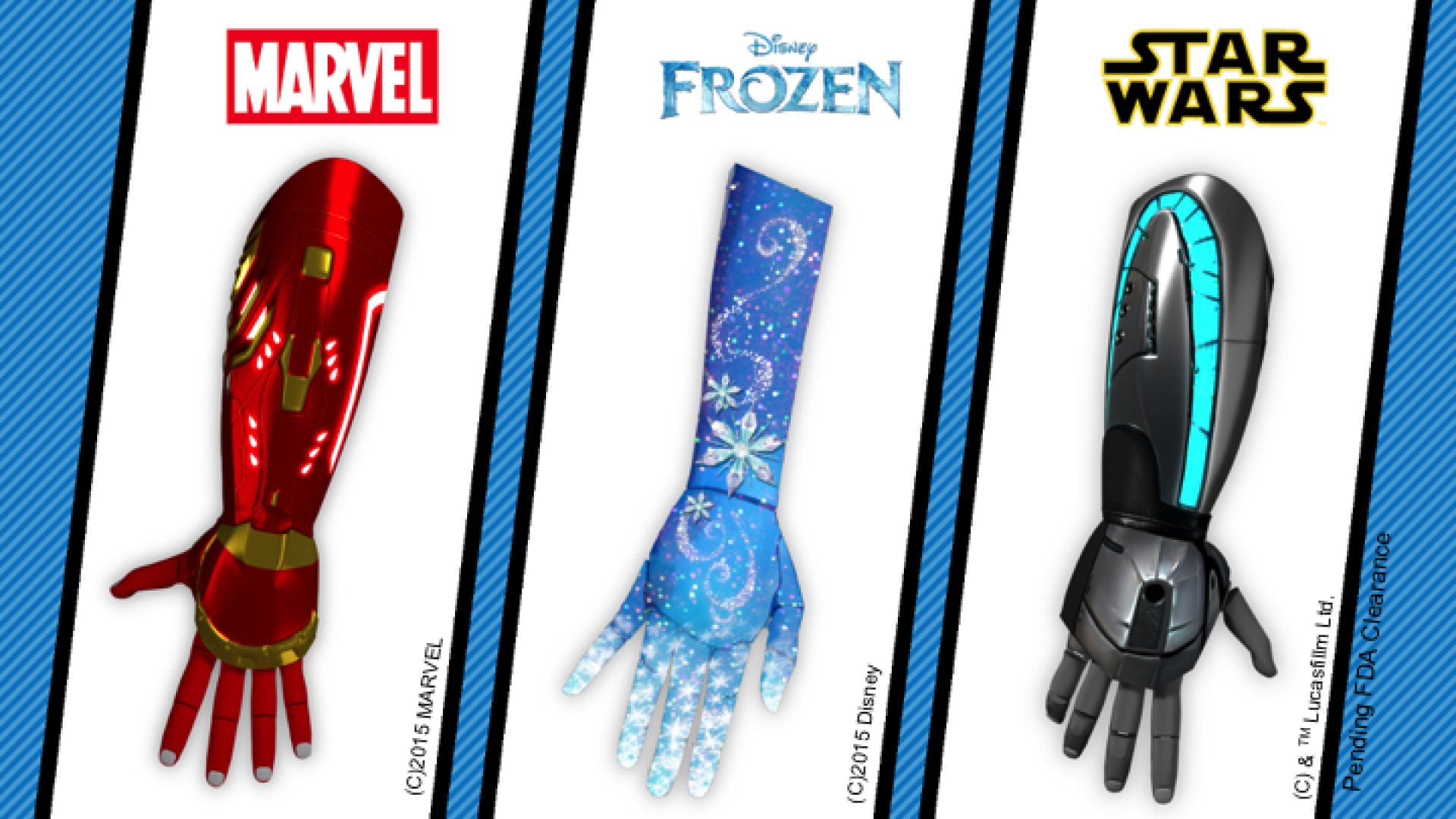 Three new prosthetic options licensed off Disney properties (Marvel, Frozen, and Star Wars)