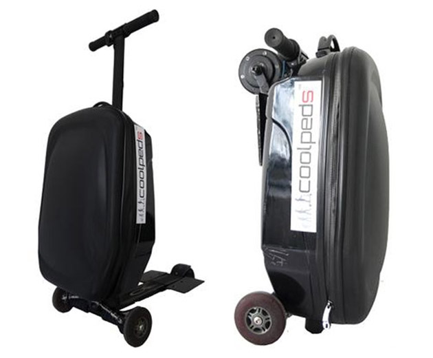 suitcase with e scooter can help you make it to your flight on time. Black Bedroom Furniture Sets. Home Design Ideas