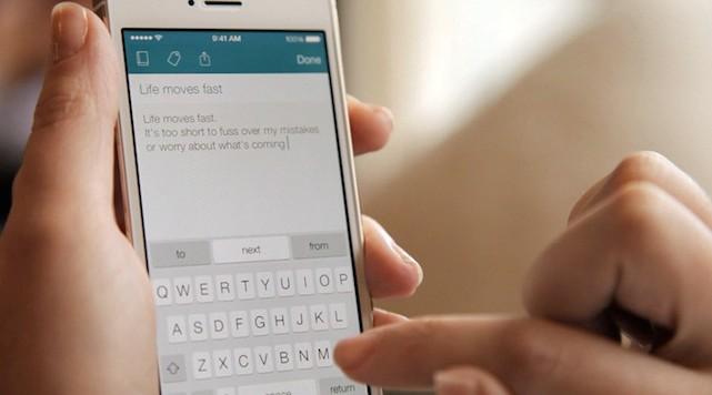 Image of iOS 8 SwiftKey in use