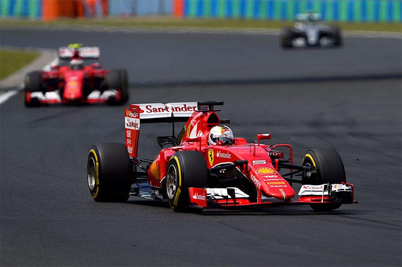 Sebastian Vettel leads the 2015 Hungarian Grand Prix.