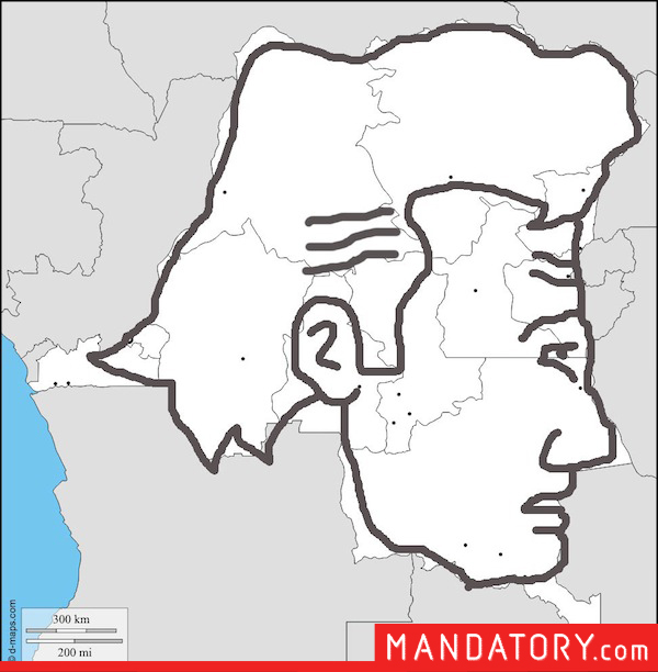 countries that look like pop culture references, funny country outlines, democratic republic of the congo eugene walking dead