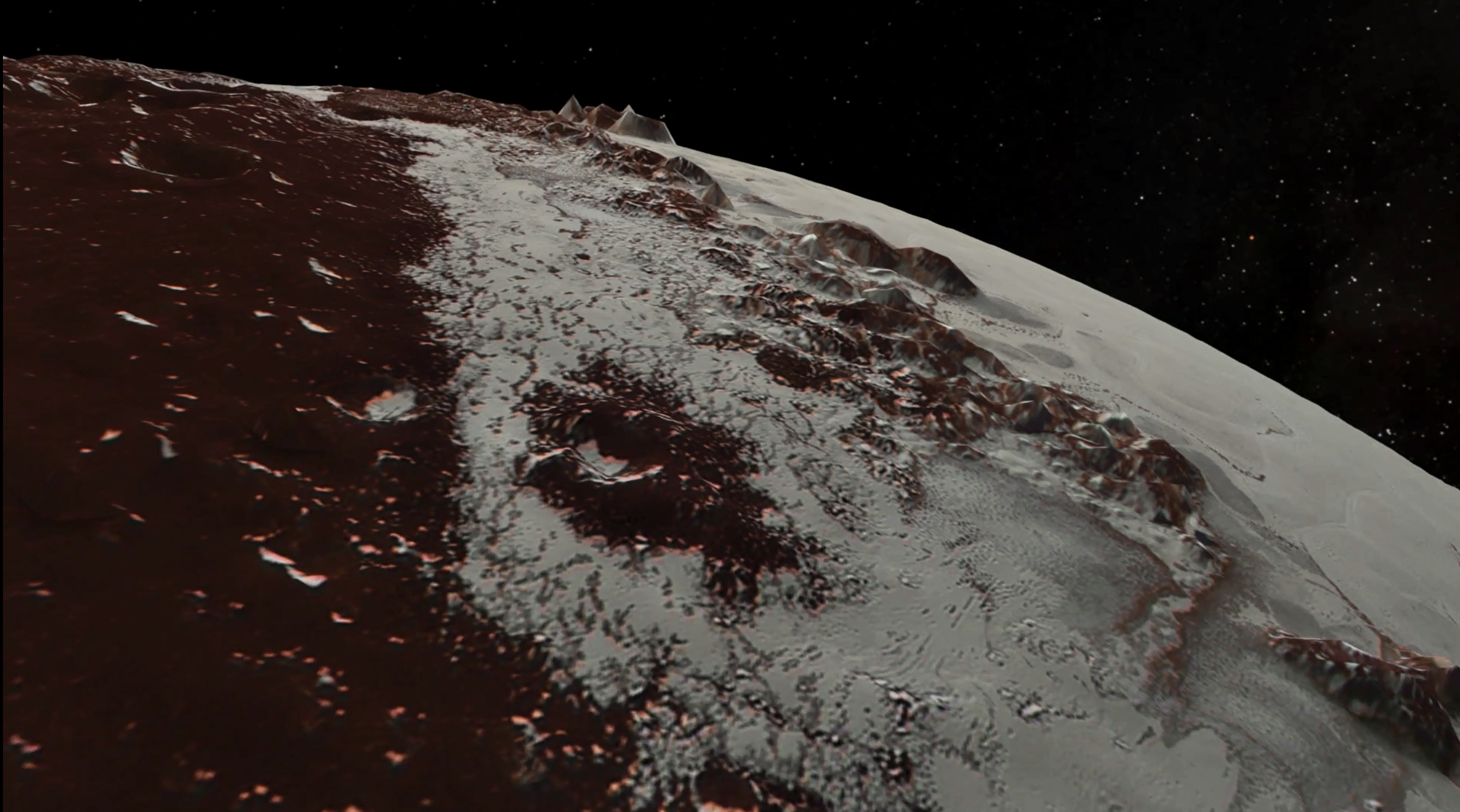 photo image Fly over Pluto and Charon in the latest NASA footage