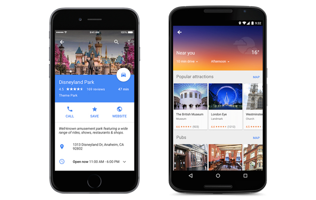 Google Maps offers more info about destinations and alternate routes