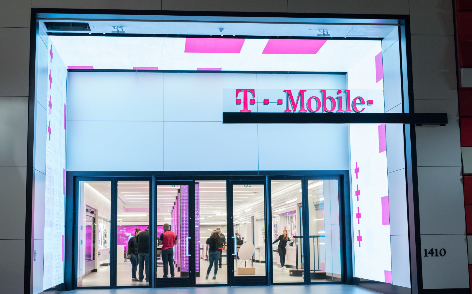 Santa Monica, CA: April 13, 2017: The exterior of a T-Mobile store in Santa Monica. T-Mobile is headquartered in Bonn, Germany.