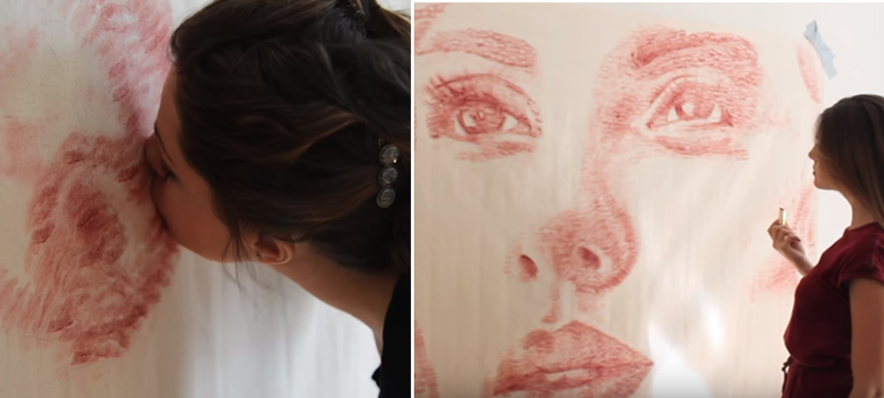 絵の具の代わりに自分のキスマークで絵を書いちゃう女性アーティストが話題に