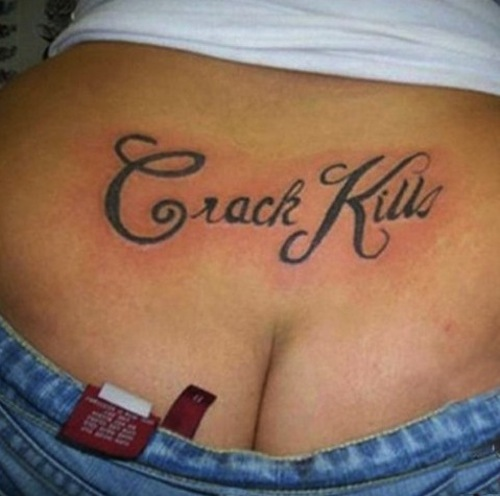 butt crack tattoos, funny buttcrack tattoo, funny butt tattoos