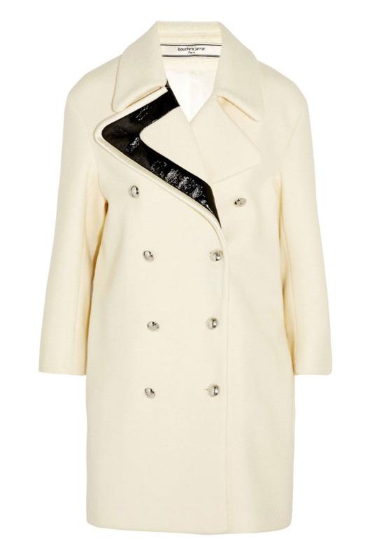 Bouchra Jarrar faux-patent-leather-trimmed wool coat