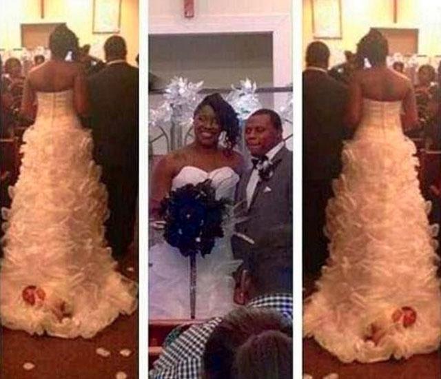 Bride attaches baby to her wedding dress