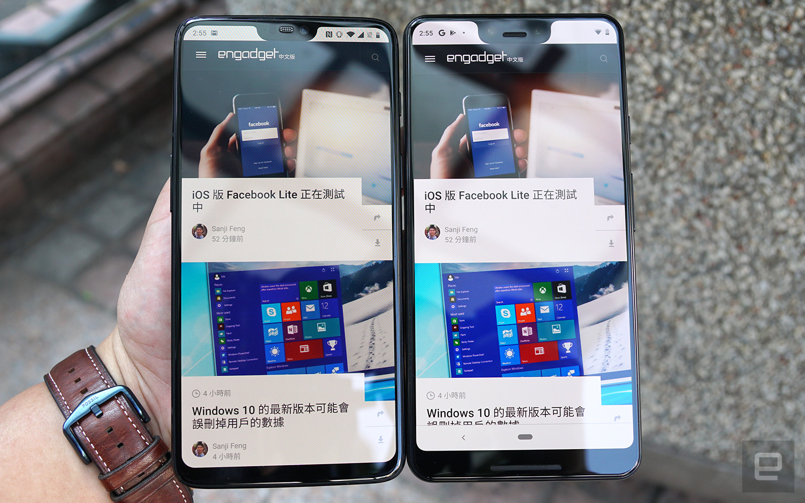 A OnePlus 6 next to the Google Pixel 3 XL.