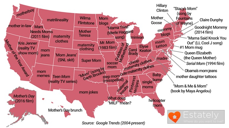 mother's day google searches us map, mom-related google searches each state