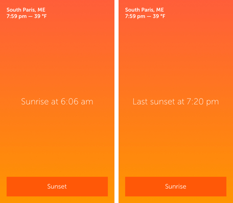 Daily App: Skylit shows sunset and sunrise times