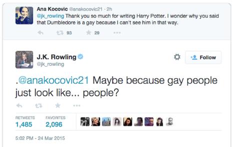 jk rowling dumbledore gay twitter