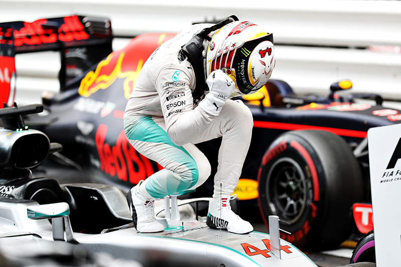 Lewis Hamilton of Great Britain and Mercedes GP celebrates his win in parc ferme during the Monaco Formula One Grand Prix at Circuit de Monaco on May 29, 2016 in Monte-Carlo, Monaco