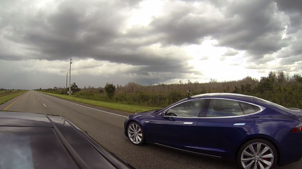 Watch Tesla's super-fast Model S modes square off in a drag race
