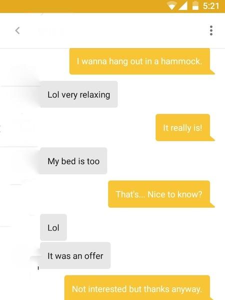 cringeworthy text exchanges, creepy texts, sleazy texts, hammock pickup fail