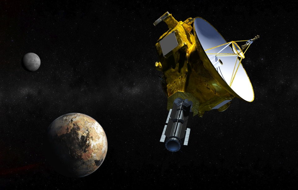 Artist's concept of the New Horizons spacecraft as it approaches Pluto and its three moons in summer 2015. The craft's miniature cameras, radio science experiment, ultraviolet and infrared spectrometers and space plasma experiments would characterize the global geology and geomorphology of Pluto and large moon Charon, map their surface compositions and temperatures, and examine Pluto's atmosphere in detail. The spacecraft's most prominent design feature is a nearly 7-foot (2.1-meter) dish antenna, through which it will communicate with Earth from as far as 4.7 billion miles (7.5 billion kilometers) away.