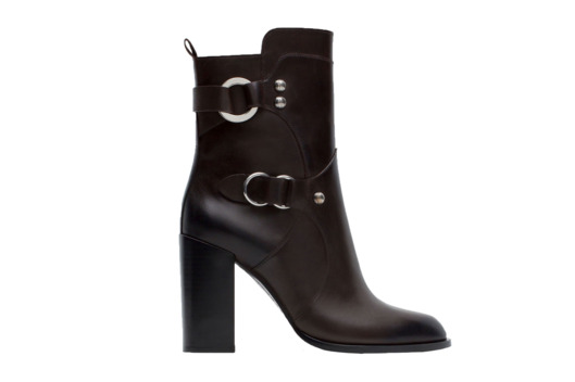Leather Ankle Boots With Metal Rings