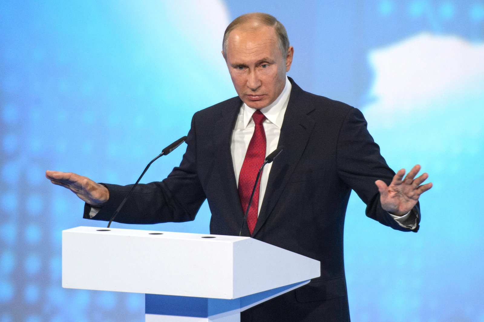 "YAROSLAVL, RUSSIA - SEPTEMBER 01: Russian President Vladimir Putin during Russian open lesson ""Russia looking to the future"" at the forum ""Projection"" on September 1, 2017 in Yaroslavl, Russia. (Photo by Dmitry Azarov/Kommersant via Getty Images)"
