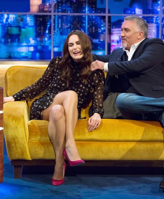 Keira Knigtley gets a massage from Paul Hollywood on Jonathan Ross show