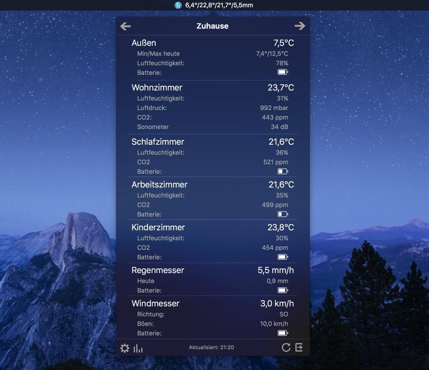Netmo zeigt alle Infos der Wetterstation von Netamto auf dem Mac