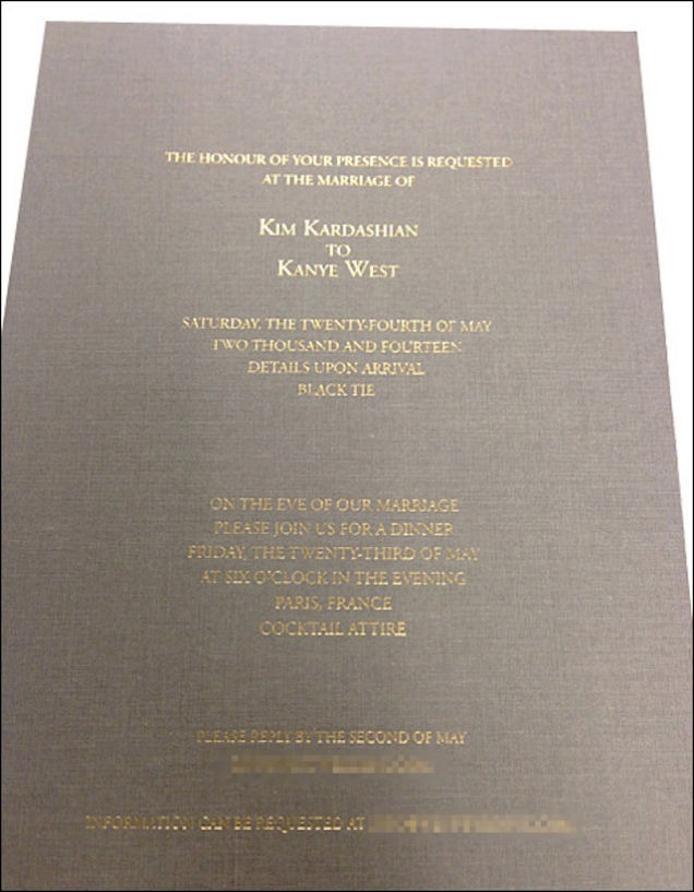 Kim Kardashian and Kanye West wedding invite