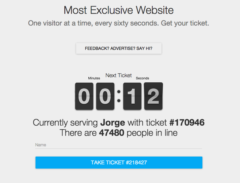 This website lets in only one person at a time and we are still waiting in line