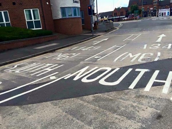 North or south? Blundering worker writes 'Nouth' on road in Stafford