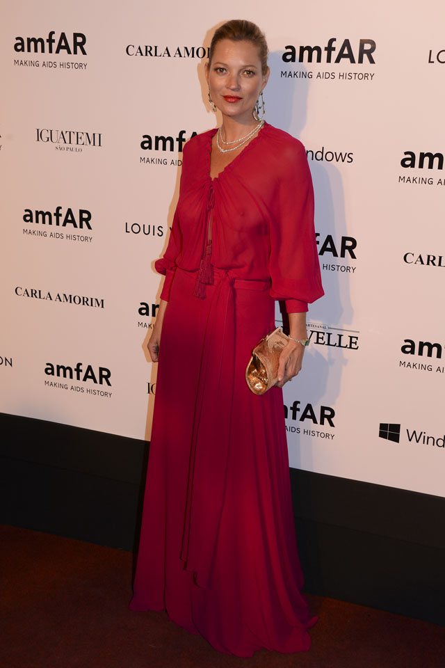 SAO PAULO, BRAZIL - APRIL 04:Kate Moss attends at amfAR's Inspiration Gala Sao Paulo on April 4, 2014 in Sao Paulo, Brazil.  (Photo by Fernanda Calfat/Getty Images For amfAR)