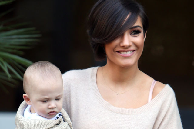 Frankie Sandford and five-month-old son Parker wear matching outfits