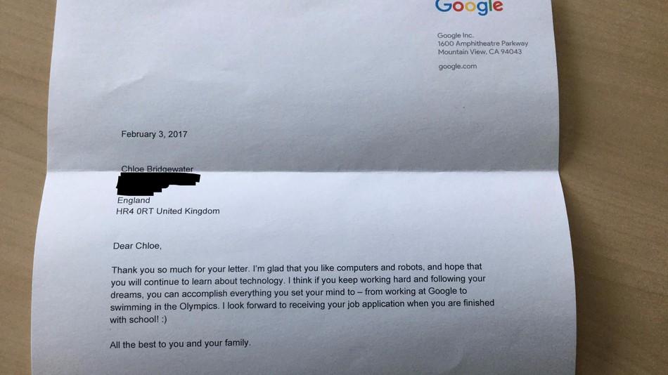 Una niña de 7 años manda una carta a Google pidiendo trabajo y Sundar Pichai le responde
